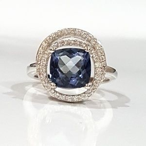 Cushion Cut Iolite & Sterling Ring Size 7